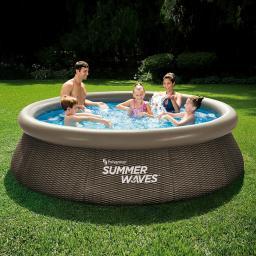QuickUp-Pool Rund mit Filterpumpe, 305 x 76cm, Rattanstyle
