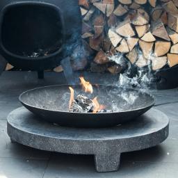 Feuerschale Rondo, 68x68x23 cm, grau, schwarz
