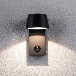LED Outdoor Wandleuchte Capea, 3000K 6W 230V IP44, Alu, schwarz mit Bewegungsmelder