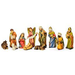 Krippenfiguren im Holzdesign, 11er Set, 7-9 cm