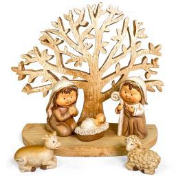 Kinderkrippenfiguren am Baum, 12x10 cm
