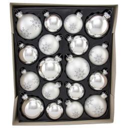 Christbaumkugeln - Blütenkristall, Silber Glanz/ Matt, 18-teilig