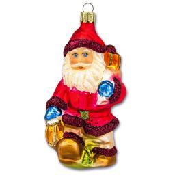 Christbaumschmuck - Weihnachtsmann mit Laterne, 10 cm, mundgeblasen