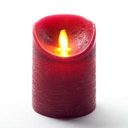 LED-Echtwachskerze mit beweglicher Flamme, 10 cm, weinrot