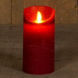 LED-Echtwachskerze mit beweglicher Flamme, 15 cm, weinrot