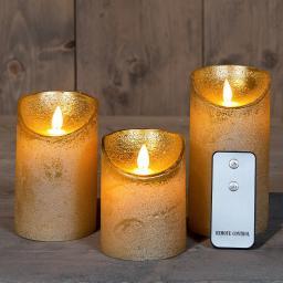 LED-Echtwachskerze mit beweglicher Flamme,  3er Set, gold