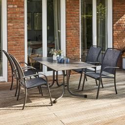 Gartenmöbel-Set Livorno mit 4 Stapelsesseln und Klapptisch, 160x90 cm