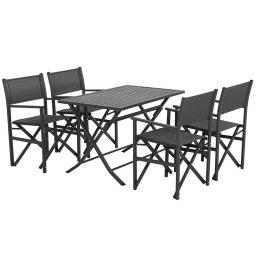 Gartenmöbel-Set Paulo mit 4 Klappsesseln und Klapptisch, 160x90 cm