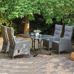 Gartenmöbel-Set Padova mit 4 Dining-Sesseln und Klapptisch, 160x90 cm