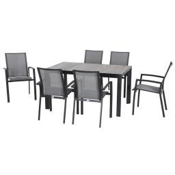 Gartenmöbel-Set Velia mit 6 Dining-Sesseln und Dining-Tisch, 140x90 cm