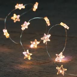 LED-Lichterkette Silberdraht mit Sternen, 2 m