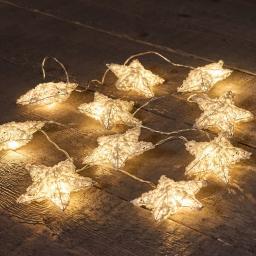 LED-Lichterkette mit Baumwollsternen, 1,4 m
