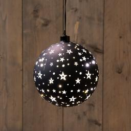 LED-Glaskugel mit Sternen, Ø 15 cm, schwarz