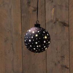 LED-Glaskugel mit Sternen, 10 cm, schwarz