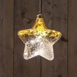 LED-Glasstern, 15 cm, gold