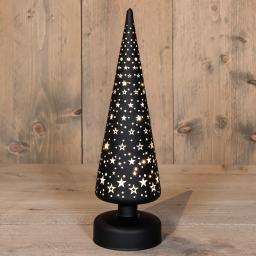 LED-Glasbäumchen mit Sternen, 9x30 cm, schwarz