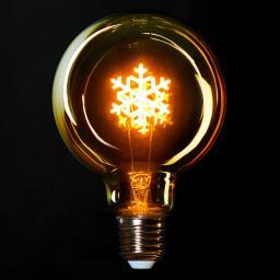 Retro LED-Dekolampe mit Schneeflocken, 13,5x9,5 cm