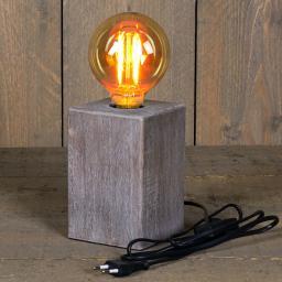 Deko-Tischleuchte mit Retro Glühbirne, 10 x 15 cm, Holzoptik