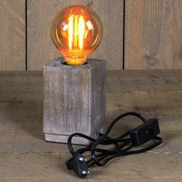 Deko-Tischleuchte mit Retro Glühbirne, 8 x 12 cm, Holzoptik