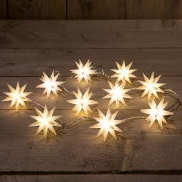 LED-Lichterkette mit 3D Sternen, Ø 6,5 cm, 1,5 m