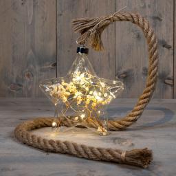 LED-Glasstern mit getrockneten Blumen, 19 cm, weiß