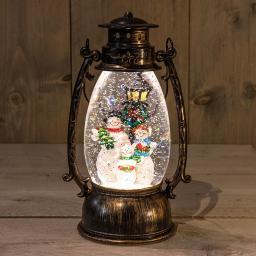 LED-Laterne mit Schneemann, 24x14,5 cm