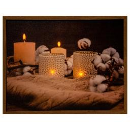 LED-Bild Kerzen, 4 LEDs, Leinwand, 48x38 cm