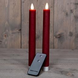LED-Echtwachs-Stabkerze, 23 cm, weinrot
