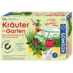 Kräuter-Garten, mit Gewächshaus + Porzellan-Mörser