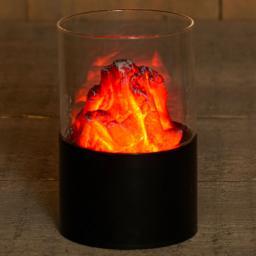 Sichtglas mit Dekofeuer, 15 x 10 cm