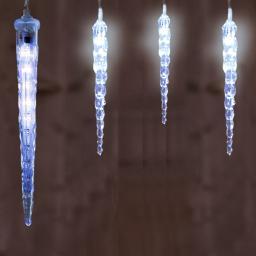 LED-Eiszapfenvorhang mit 30 cm Zapfen, 600 cm, transparent