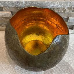 Windlicht-Kugel, 19x19x18, gold