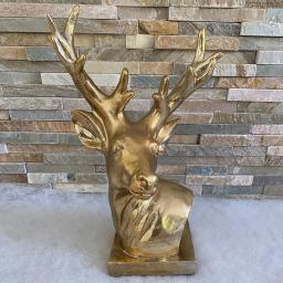 Edler Deko-Hirschkopf, 28x17x40 cm, gold