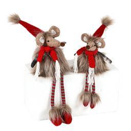 Weihnachtliche Maus mit Baumelbeinen, 14x13x36 cm