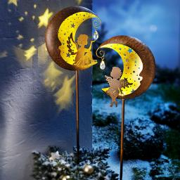 "LED Gartenstecker ""Engel im Mond"", 2er Set"