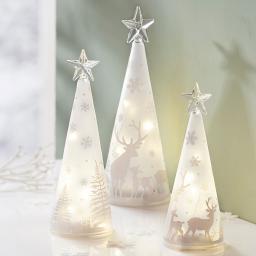 LED-Glaskegel Winterwald, 3er Set