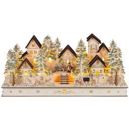 LED-Weihnachtsdorf mit handgeschnitzten Figuren, 52 cm