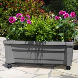 Pflanzkasten mit Bewässerungssystem und modularem Spaliere, grau