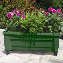 Pflanzkasten mit Bewässerungssystem und modularem Spaliere, grün