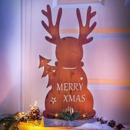 Dekofigur Elch Merry Xmas aus Metall, Naturrost