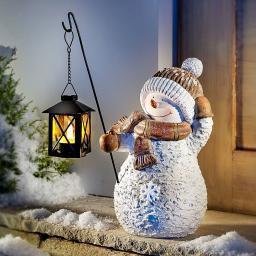 Deko-Schneemann Snowy mit LED-Laterne