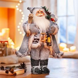 Deko-Weihnachtsmann Lennart mit LED-Laterne