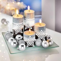 Kerzenset Silberglanz mit 4 Kerzen und Teller, 20x20 cm