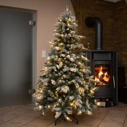 Künstlicher Weihnachtsbaum Fichte, Schneeoptik, mit LED-Beleuchtung, 210 cm