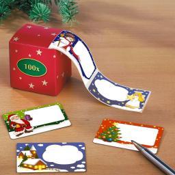 Weihnachtsetiketten im praktischen Dispenser, 100 St.