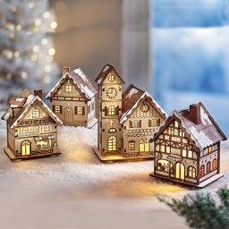 LED-Weihnachtsdorf, 4-teilig