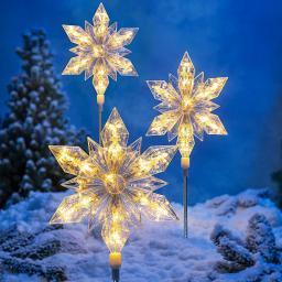 LED-Gartenstecker Eiskristall, 3er-Set