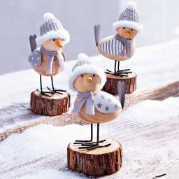Dekofiguren Wintervögel, 3er-Set