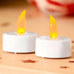 Star LED-Teelichte, 2er-Set, 4x3,5x3,5 cm, Kunststoff, weiß