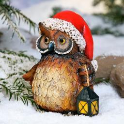 Weihnachtseule Ilse, 17x13x12 cm, Polyresin, braun